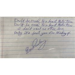 Elvis Presley Signed and Handwritten Don't Be Cruel Lyrics