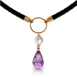 Genuine 7.5 ctw Amethyst & Pearl Necklace Jewelry 14KT Rose Gold - REF-52A9K