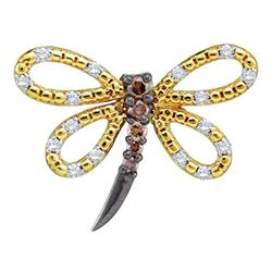0.25 CTW Cognac-brown Color Diamond Dragonfly Bug Insect Pendant 14k Yellow Gold - REF-24F2N