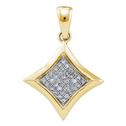 0.12 CTW Diamond Square Kite Cluster Pendant 10KT Yellow Gold - REF-14Y9X