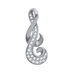 0.14 CTW Diamond Cluster Curled Pendant 10KT White Gold - REF-13Y4X