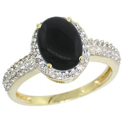 Natural 1.95 ctw Onyx & Diamond Engagement Ring 14K Yellow Gold - REF-39V2F