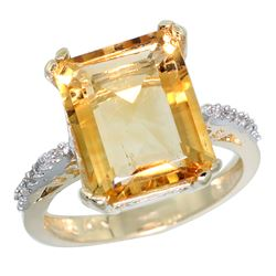 Natural 5.48 ctw Citrine & Diamond Engagement Ring 10K Yellow Gold - REF-39Y6X