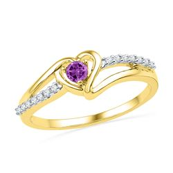 0.18 CTW Created Amethyst Heart Love Ring 10KT Yellow Gold - REF-14M9H