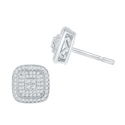 0.60 CTW Diamond Cluster Square Screwback Earrings 10KT White Gold - REF-44Y9X