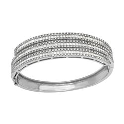 6.2 CTW Diamond Bangle 18K White Gold - REF-745M2F