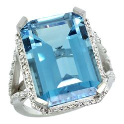 Natural 13.72 ctw London-blue-topaz & Diamond Engagement Ring 14K White Gold - REF-86H5W