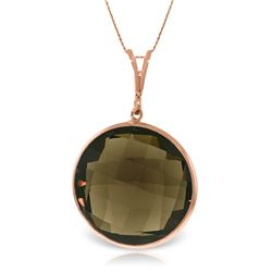 Genuine 17 ctw Smoky Quartz Necklace Jewelry 14KT Rose Gold - REF-39M4T