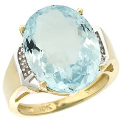 Natural 11.02 ctw Aquamarine & Diamond Engagement Ring 14K Yellow Gold - REF-152X5A