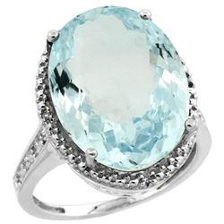 Natural 13.6 ctw Aquamarine & Diamond Engagement Ring 10K White Gold - REF-220K2R