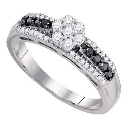0.45 CTW Black Color Diamond Cluster Ring 10KT White Gold - REF-34M4H