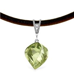 Genuine 13.01 ctw Green Amethyst & Diamond Necklace Jewelry 14KT White Gold - REF-45W3Y