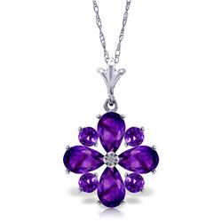 Genuine 2.43 ctw Amethyst Necklace Jewelry 14KT White Gold - REF-29H7X