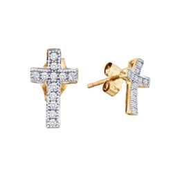 0.10 CTW Diamond Cross Earrings 10KT Yellow Gold - REF-8N9F
