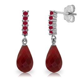 Genuine 7 ctw Ruby Earrings Jewelry 14KT White Gold - REF-32N3R