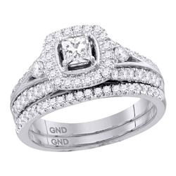 0.97 CTW Diamond Bridal Wedding Engagement Ring 14KT White Gold - REF-142W4K