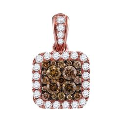 1.01 CTW Cognac-brown Color Diamond Square Pendant 14KT Rose Gold - REF-82Y4X