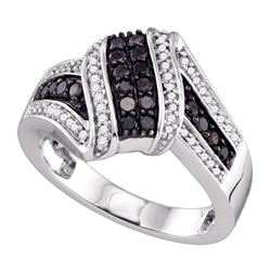 0.55 CTW Black Color Diamond Cluster Ring 10KT White Gold - REF-41M9H