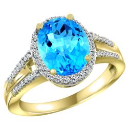 Natural 2.72 ctw swiss-blue-topaz & Diamond Engagement Ring 14K Yellow Gold - REF-54F4N