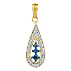 0.20 CTW Blue Color Diamond Teardrop Pendant 10KT Yellow Gold - REF-12K8W