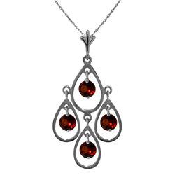 Genuine 1.20 ctw Garnet Necklace Jewelry 14KT White Gold - REF-30P7H