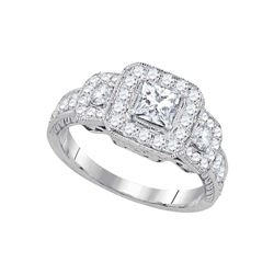 1.5 CTW Princess Diamond 3-stone Bridal Engagement Ring 14KT White Gold - REF-292K5W