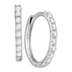 0.35 CTW Diamond Hoop Earrings 10KT White Gold - REF-22H4M