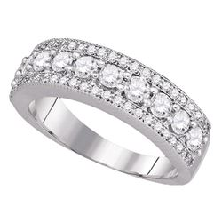 0.99 CTW Pave-set Diamond Symmetrical Parallel Ring 14KT White Gold - REF-104M9H