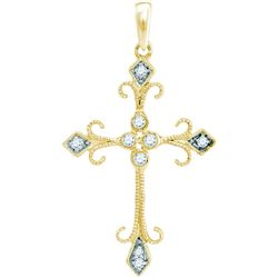 0.11 CTW Diamond Cross Pendant 10KT Yellow Gold - REF-13M4H