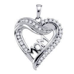 0.21 CTW Diamond Mom Mother Heart Outline Pendant 10KT White Gold - REF-19H4M