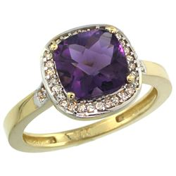 Natural 3.94 ctw Amethyst & Diamond Engagement Ring 10K Yellow Gold - REF-29F2N