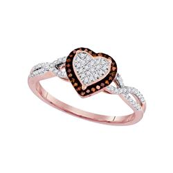 0.20 CTW Red Color Diamond Heart Cluster Ring 10KT Rose Gold - REF-26M9H