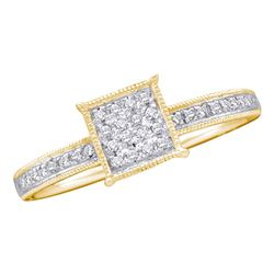 0.10 CTW Diamond Square Cluster Ring 10KT Yellow Gold - REF-11N2F