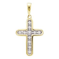 0.10 CTW Diamond Cross Pendant 10KT Yellow Gold - REF-10Y5X