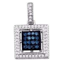 0.20 CTW Blue Color Diamond Square Cluster Pendant 10KT White Gold - REF-18N2F