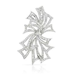 5.22 CTW Diamond Brooch 18K White Gold - REF-526M7F