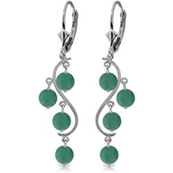 Genuine 4 ctw Emerald Earrings Jewelry 14KT White Gold - REF-76R6P