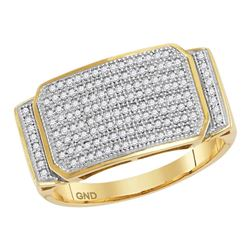 0.50 CTW Mens Pave-set Diamond Rectangle Cluster Ring 10KT Yellow Gold - REF-67X4Y