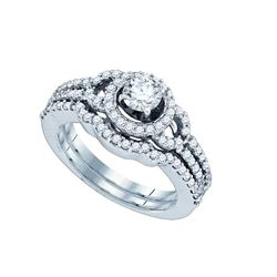 1 CTW Diamond Halo Bridal Engagement Ring 14KT White Gold - REF-161Y8X