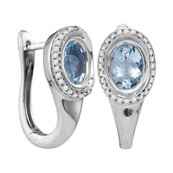 0.85 CTW Oval Aquamarine Solitaire Diamond Hoop Earrings 14KT White Gold - REF-92Y9X