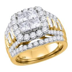 3.03 CTW Princess Diamond Cluster Halo Bridal Engagement Ring 14KT Yellow Gold - REF-322N3F