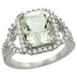 Natural 3.08 ctw green-amethyst & Diamond Engagement Ring 14K White Gold - REF-106W3K