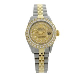 Rolex Pre-owned 26mm Womens Custom String Champagne Two Tone - REF-540R3M