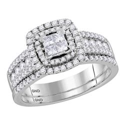 1.02 CTW Princess Diamond Double Halo Bridal Engagement Ring 14KT White Gold - REF-89F9N