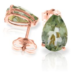 Genuine 3.15 ctw Green Amethyst Earrings Jewelry 14KT Rose Gold - REF-21P2H