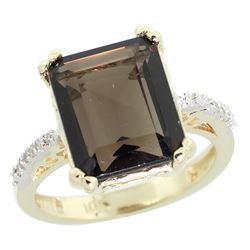 Natural 5.48 ctw Smoky-topaz & Diamond Engagement Ring 14K Yellow Gold - REF-51M4H
