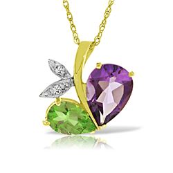 Genuine 4.06 ctw Amethyst, Peridot & Diamond Necklace Jewelry 14KT Yellow Gold - REF-59R2P