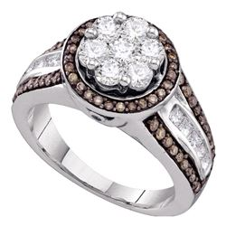 1.38 CTW Brown Color Diamond Flower Cluster Ring 10KT White Gold - REF-127W4K