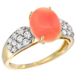 Natural 2.35 ctw coral & Diamond Engagement Ring 14K Yellow Gold - REF-56Z6Y