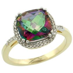 Natural 4.11 ctw Mystic-topaz & Diamond Engagement Ring 14K Yellow Gold - REF-44M2H